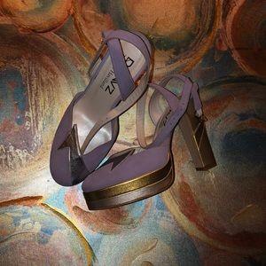 Purple, gold & silver stylish heels